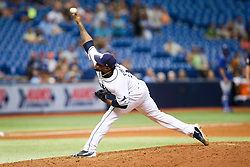 August 24, 2017 - St. Petersburg, Florida, U.S. - WILL VRAGOVIC   |   Times.Tampa Bay Rays relief pitcher Alex Colome (37) throwing in the ninth inning of the game between the Toronto Blue Jays and the Tampa Bay Rays at Tropicana Field in St. Petersburg, Fla. on Thursday, Aug. 24, 2017. The Tampa Bay Rays beat the Toronto Blue Jays 2-0. (Credit Image: © Will Vragovic/Tampa Bay Times via ZUMA Wire)