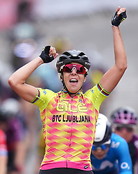 Marta Bastianelli of team Cipollini celebrates winning the first stage of the AJ Bell Women's Tour from Bicester to Banbury. Picture date: Monday October 4, 2021.