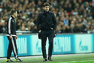 Mauricio Pochettino, the Tottenham Hotspur manger looking on from the touchline. UEFA Champions league match, group E, Tottenham Hotspur v Bayer Leverkusen at Wembley Stadium in London on Wednesday 2nd November 2016.<br /> pic by John Patrick Fletcher, Andrew Orchard sports photography.