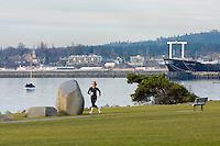 Jogger at Boulevard park Bellingham Washington USA