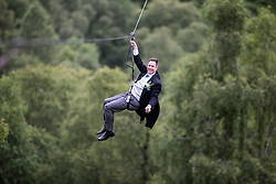Martin Milner after tying the knot in the trees at Go Ape Aberfoyle, on the last zip wire.
