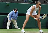Lawn Tennis - 2021 All England Championships - Week Two - Thursday - Wimbledon - Ladies Semi final-   Karolina Pliskova v Aryna Sabalenka<br /> <br /> A female line judge and Karolina Pliskova prepare for the point<br /> <br /> Credit : COLORSPORT/Andrew Cowie