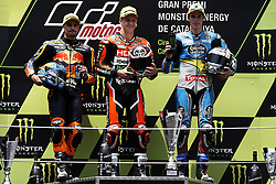 June 17, 2018 - Barcelona, Catalonia, Spain - Miguel Oliveira (44) of Portugal and Red Bull KTM Ajo KTM , Fabio Quartararo (20) of France and Mb Conveyors - Speed Up Racing Speed Up, Alex Marquez (73) of Spain and Eg 0,0 Marc VDS Kalex during the race day of the Gran Premi Monster Energy de Catalunya, Circuit of Catalunya, Montmelo, Spain. 17th June of 2018. (Credit Image: © Jose Breton/NurPhoto via ZUMA Press)