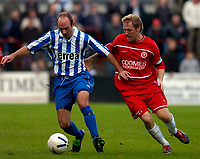Photo: Alan Crowhurst.<br />Welling United v Clevedon Town. The FA Cup Qualifying. 28/10/2006. Clevedon's Danny Haines (L) attacks.