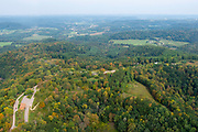 Aerial photograph of Wildcat Mountain State Park on a late summer morning. Near Ontario (in the background), Vernon County, Wisconsin.