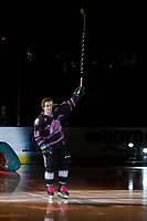 KELOWNA, BC - SEPTEMBER 21:  Kyle Crosbie #18 of the Kelowna Rockets enters the ice for home opener against the Spokane Chiefs at Prospera Place on September 21, 2019 in Kelowna, Canada. (Photo by Marissa Baecker/Shoot the Breeze)