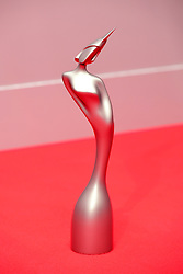 A general view of a Brit Award in the press room during the Brit Awards at the O2 Arena, London.