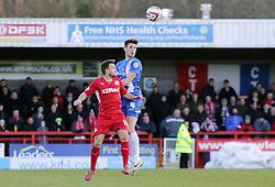 Peterborough United's Shaun Brisley in action with Crawley Town's Matt Tubbs - Photo mandatory by-line: Joe Dent/JMP - Tel: Mobile: 07966 386802 01/03/2014 - SPORT - FOOTBALL - Crawley - Broadfield Stadium - Crawley Town v Peterborough United - Sky Bet League One