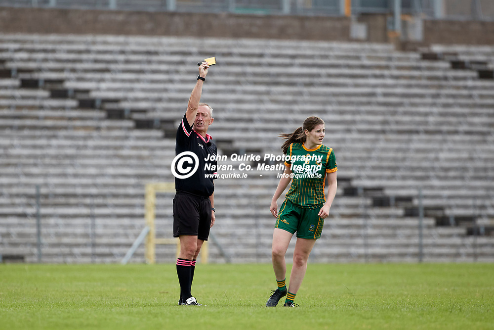 01-08-21, All Ireland Ladies SFC quarterfinal at Clones<br /> Meath v Armagh<br /> Referee- Brendan Rice produces a yellow card for Bridgetta Lynch (Meath)<br /> Photo: David Mullen / www.quirke.ie ©John Quirke Photography, Proudstown Road Navan. Co. Meath. 046-9079044 / 087-2579454.<br /> ISO: 400; Shutter: 1/1250; Aperture: 5;