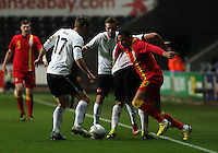 Pictured: Hal Robson-Kanu of Wales (R) wind the ball over three Austria players.  Wednesday 06 February 2013..Re: Vauxhall International Friendly, Wales v Austria at the Liberty Stadium, Swansea, south Wales.