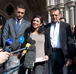 © Licensed to London News Pictures. 30/03/2012. London, UK.  Family of Anni Dewani L to R Anish Hindocha (brother of Anni) Ami Denborg (sister of Anni) Vinod Hindocha (Father of Anni) father speaking to the media on the steps of The High Court on March 30, 2012 where a judge temporarily halted British businessman Shrien Dewani's extradition to South Africa on mental health grounds. Shrien Dewani, is accused of arranging the contract killing of wife Anni in Cape Town in November 2010. Photo credit : Ben Cawthra/LNP