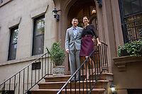 Lisa Immordino poses for a portrait with her husband Alexander Vreeland at their home for a story on the upcoming documentary on Diana Vreeland. Immordino is the filmmaker and Diana's granddaughter-in-law... Photo by Robert Caplin