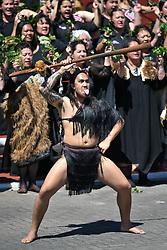 The Duke and Duchess of Sussex are greeted with haka, at Te Papaiouru, Ohinemutu, in Rotorua, New Zealand, before a lunch in honour of Harry and Meghan, on day four of the royal couple's tour of New Zealand.