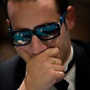 Jonathan Thompson watches the play during the tournement at the Mirage poker room, Las Vegas.