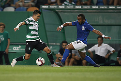 September 1, 2018 - Lisbon, Portugal - Marcos Acuna of Sporting (L) vies for the ball with Edson Farias of Feirense during Primeira Liga 2018/19 match between Sporting CP vs CD Feirense, in Lisbon, on September 1, 2018. (Credit Image: © Carlos Palma/NurPhoto/ZUMA Press)
