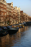 Barges on the Canal in Amsterdam, the Netherlands<br />