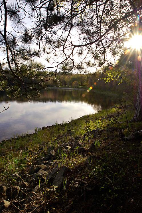 The shoreline of Clark Lake at Sylvania Wilderness Area of Ottawa National Forest near Watersmeet Michigan.