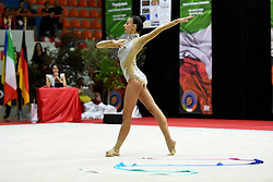 July 28, 2018 - Chieti, Abruzzo, Italy - Rhythmic gymnast Alessia Russo of Italy performs her ribbon routine during the Rhythmic Gymnastics pre World Championship Italy-Ukraine-Germany at Palatricalle on 29th of July 2018 in Chieti Italy. (Credit Image: © Franco Romano/NurPhoto via ZUMA Press)
