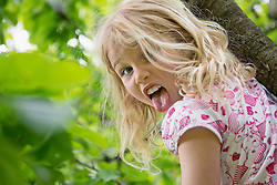 Young girl sitting in tree sticking tongue out