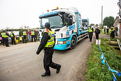 © Licensed to London News Pictures. 20/09/2017. Kirby Misperton UK. A lorry enter's the Kirby Misperton KM8 fracking site this morning as a second day of protests have started. It is thought that equipment to erect noise barriers is being bought in. Third Energy was granted planning permission last year to frack the site but has not yet received final consent to begin fracking, but expects to start before the end of the year. are Photo credit: Andrew McCaren/LNP