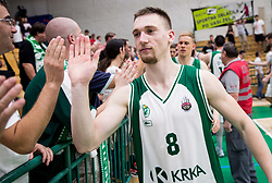 Domen Bratoz of Krka after the basketball match between KK Krka Novo mesto and  KK Petrol Olimpija in 4th Final game of Liga Nova KBM za prvaka 2017/18, on May 27, 2018 in Sports hall Leona Stuklja, Novo mesto, Slovenia. Photo by Vid Ponikvar / Sportida