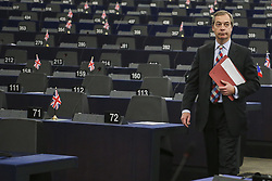 April 18, 2018 - Former UKIP leader Nigel Farage on April 18, 2018 at the EU parliament in the eastern French city of Strasbourg. (Credit Image: ©  via ZUMA Wire)