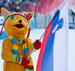 """Mascot Golden Fox at flower ceremony after the 2nd Run of FIS Alpine Ski World Cup 7th Ladies' Giant Slalom race named """"49th Golden Fox 2013"""", on January 26, 2013 in Mariborsko Pohorje, Maribor, Slovenia. (Photo By Vid Ponikvar / Sportida.com)"""