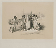 Group of Nubians Wady Kardassy in Nubia from Egypt and Nubia, Volume I: Louis Haghe (British, 1806-1885), F.G.Moon, 20 Threadneedle Street, London, after David Roberts (British, 1796-1864). Color lithograph;