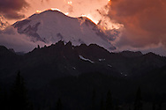 Mount Rainier and Governors Ridge in evening alpenglow from Chinook Pass, Mount Rainier National Park, Washington state, USA