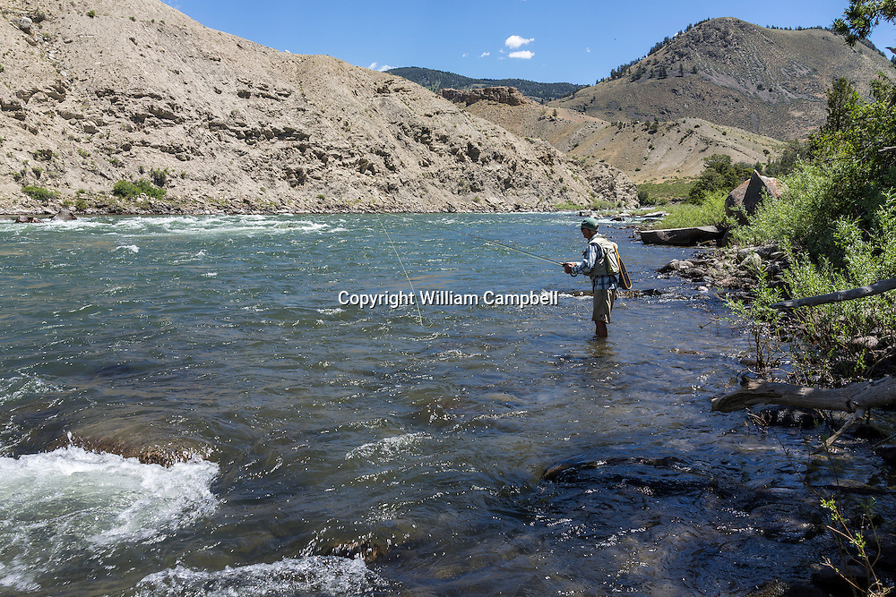 Fly fishing in Yellowstone National Park not far downstream from the proposed Crevice Mountain mine.