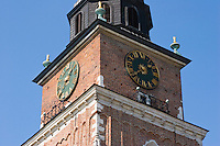 Clock tower on the Market Square in Krakow Poland