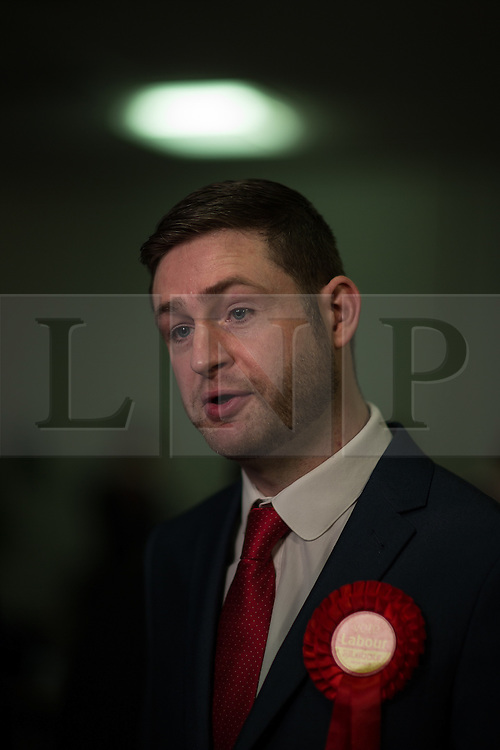 © Licensed to London News Pictures . 04/12/2015 . Oldham , UK . Winner JIM MCMAHON at the Oldham West and Royton by-election , at the Queen Elizabeth Hall in Oldham . The by-election was called following the death of MP Michael Meacher . Photo credit : Joel Goodman/LNP