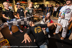Limbo at the Sultans of Sprint party during the Intermot International Motorcycle Fair. Cologne, Germany. Saturday October 6, 2018. Photography ©2018 Michael Lichter.