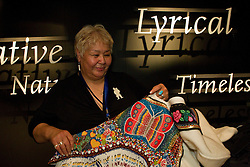 Nunavut designer Meeka Kilabuk demonstrates her work on Nunavut Day at Canada's Northern House