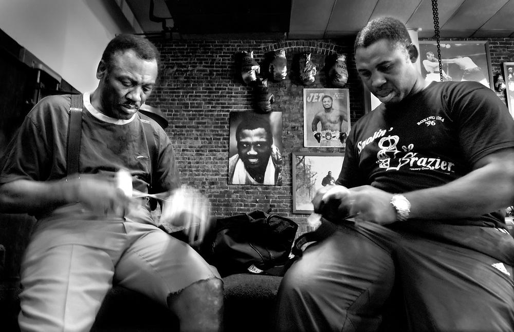 Joe Frazier in his Gym in Philadelphia<br />