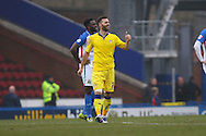 Mirco Antenucci of Leeds United (c) celebrates after scoring his teams 2nd goal. Skybet football league Championship match, Blackburn Rovers v Leeds United at Ewood Park in Blackburn, Lancs on Saturday 12th March 2016.<br /> pic by Chris Stading, Andrew Orchard sports photography.