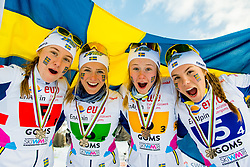 February 3, 2018 - Goms, SWITZERLAND - 180203 Tua Dahlgren, Frida Karlsson, Alicia Persson and Johanna HagstrÅ¡m of Sweden pose with the bronze medals after the women's 4x3,3 km relay during the FIS Nordic Junior World Ski Championships on February 3, 2018 in Obergoms..Photo: Vegard Wivestad GrÂ¿tt / BILDBYRN / kod VG / 170098 (Credit Image: © Vegard Wivestad Gr¯Tt/Bildbyran via ZUMA Press)