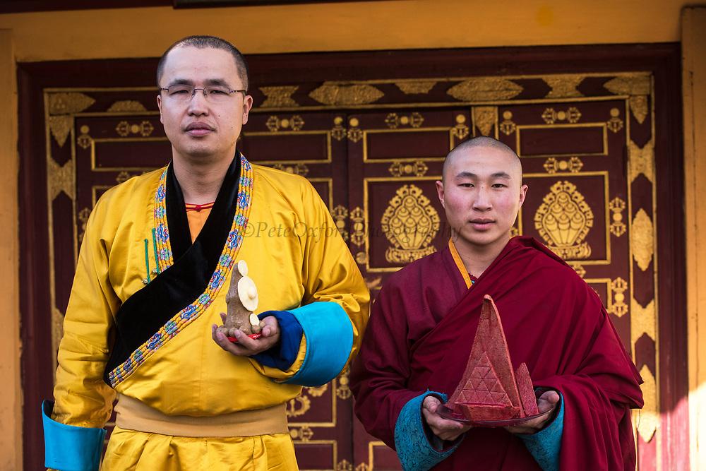 Monks at Gandan Monastery<br /> Ulaanbaatar<br /> Mongolia