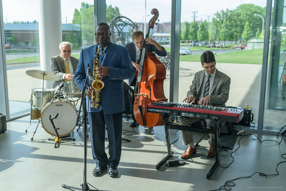 A jazz ensemble at the 10-year anniversary celebration of Republic Bank's Private Banking and Business Banking divisions Wednesday, May 17, 2017, at the Speed Art Museum in Louisville, Ky. (Photo by Brian Bohannon)