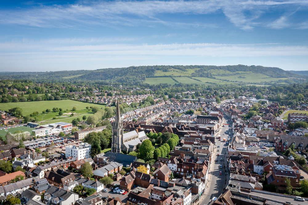 Aerial drone image view of Dorking Town Centre with St.Martin's Church, Dorking High Street and Box Hill.<br /> <br /> Aerial drone panorama image view of Dorking Town Centre with St.Martin's Church, Dorking High Street and Box Hill.<br /> <br /> Image available to purchase with a licence for commercial and personal use. Please contact alex@alexorrow.co.uk or 07768152787.  For pricing: https://archive.alexorrow.co.uk/p/sfsf