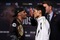 Kal Yafai and Sho Ishida go head to head alongside promoter Eddie Hearn during the press conference at the National Museum Cardiff.