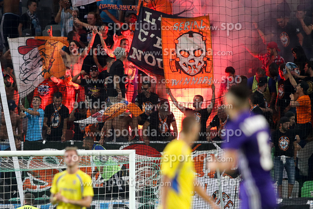 Fans of Marseille during football match between NK Domzale and Olympique de Marseille in First game of UEFA Europa League playoff round, on August 17, 2017 in SRC Stozice, Ljubljana, Slovenia. Photo by Morgan Kristan / Sportida