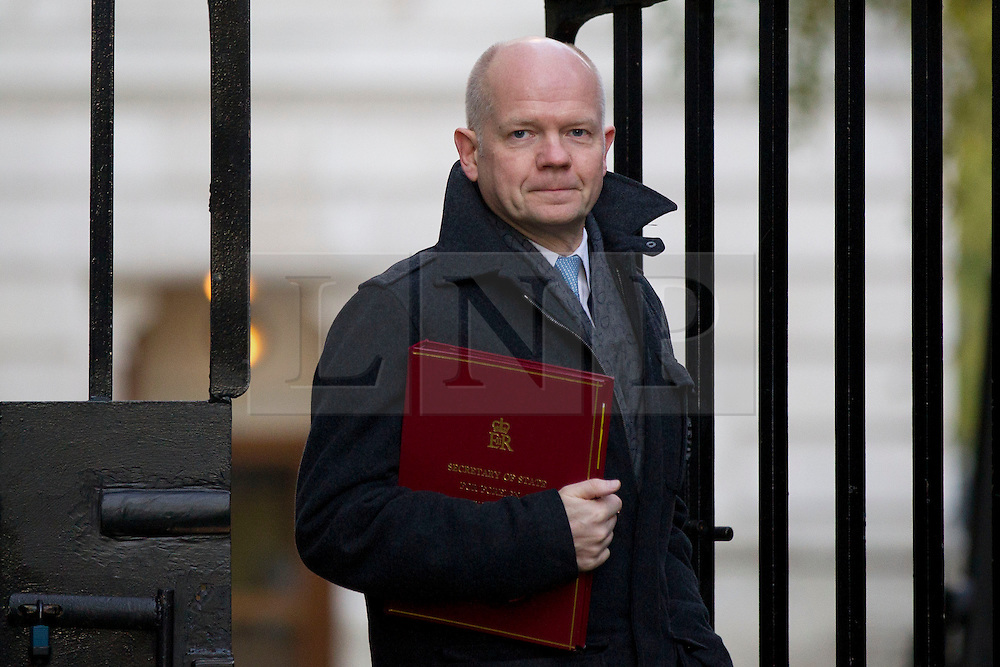 © Licensed to London News Pictures. 26/11/2013. London, UK. The Foreign Secretary, William Hague, arrives for a meeting of British Prime Minister David Cameron's Cabinet on Downing Street in London today (26/11/2013). Photo credit: Matt Cetti-Roberts/LNP