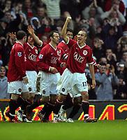 Henrik Larsson Celebrates Scoring 1st goal<br />Manchester United 2006/07<br />Manchester United V Aston Villa 07/01/07<br />The FA Cup 3rd Round <br />Photo Robin Parker Fotosports International