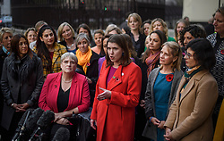 © Licensed to London News Pictures. 04/11/2019. London, UK. Liberal Democrat Leader JO SWINSON is seen joined by other Lib Dem MPs and parliamentary candidates outside Parliament. A general election has been called on December 12th in an attempt to get a Brexit agreement through parliament. Photo credit: Ben Cawthra/LNP. Photo credit: Ben Cawthra/LNP