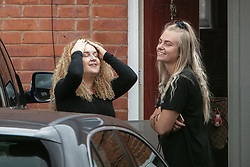 © Licensed to London News Pictures . 18/08/2020. Manchester , UK . CHARLENE PROHAM (left) pictured outside her home on Harlow Drive in Gorton . Proham was issued with a £100 fixed penalty notice after hosting an illegal lock down party in a marquee in her garden . Police say they were pelted with missiles when they attempted to break up the event on Saturday (15th August 2020). Photo credit : Joel Goodman/LNP