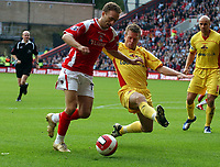 Photo: Olly Greenwood.<br />Charlton Athletic v Watford. The Barclays Premiership. 21/10/2006. Charlton's Dennis Rommedahl goes past Watford's Jordan Stewart.