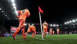 Liverpool's Georginio Wijnaldum touches the pitch as he comes back on the second half of the Premier League match at the bet365 Stadium, Stoke.
