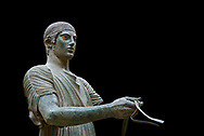 Severe Style Ancient Greek bronze sculpture of a charioteer, 480-460 BC, Delphi National Archaeological Museum.   Against black<br /> <br /> The Charioteer is a rare example of Severe Style bronze statue that only servived ancient looters  because it was buried by an earthquake. Plain and austere it mirrors the preveiling aestheics expected from ancient greek atheletes. The statue was probably sculpted following the teachings of Pythagoras of Samos due to its exact symetrical proportions
