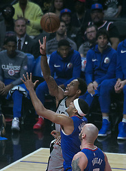 November 15, 2018 - Los Angeles, California, U.S - DeMar DeRozan #10 of the San Antonio Spurs shoots the ball as Tobias Harris #34 of the Los Angeles Clippers attempts to block during their NBA game on Thursday November 15, 2018 at the Staples Center in Los Angeles, California. (Credit Image: © Prensa Internacional via ZUMA Wire)